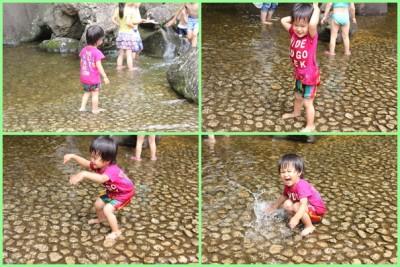 四季の森公園-じゃぶじゃぶ池で遊ぶ2歳児