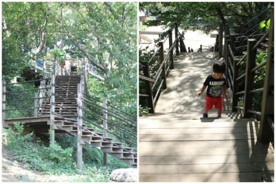 三ツ池公園-ロング滑り台出発点への階段