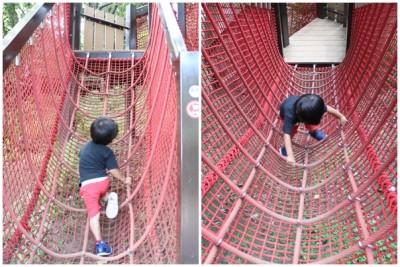 三ツ池公園-アスレチックに挑戦する2歳児