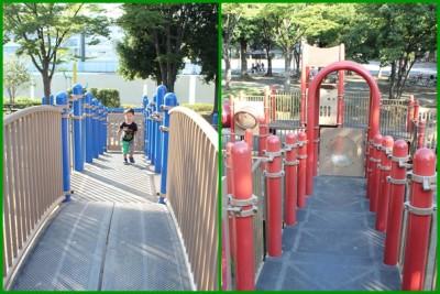 橘公園-橋型遊具赤と青