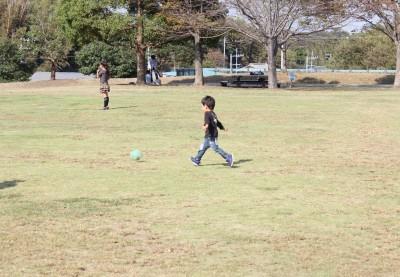 里山公園の芝生広場でボール遊び2歳