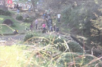 里山公園の階段のせせらぎ