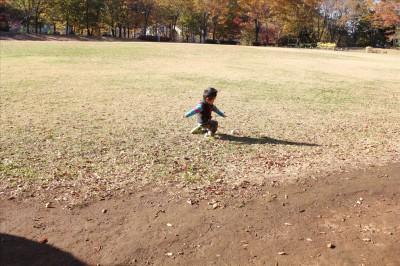 大谷戸公園芝生広場でボール遊び