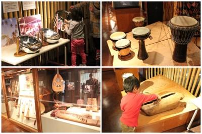 世界の楽器がずらりと展示