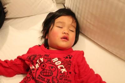 疲れきって寝るペン太