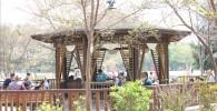樹林広場屋根付きベンチの写真