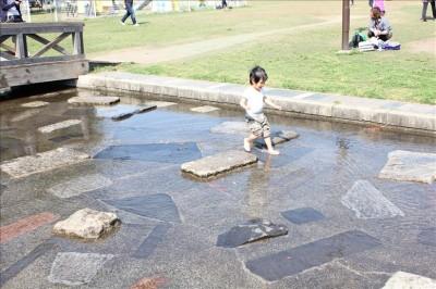 せせらぎで水遊びする幼児