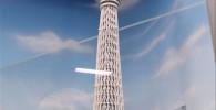 ひときわ目立つ東京スカイツリータワーとその周辺の建物