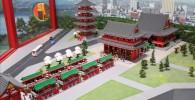 浅草寺の本堂、商店街、五重塔が再現されています。