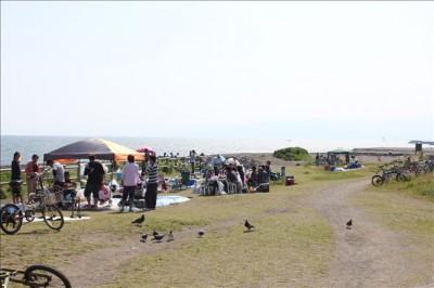 海岸でBBQを楽しむ人々の様子