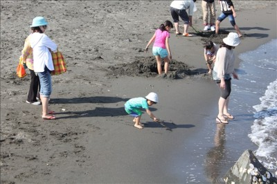 波打ち際で穴掘りを楽しむ子供達