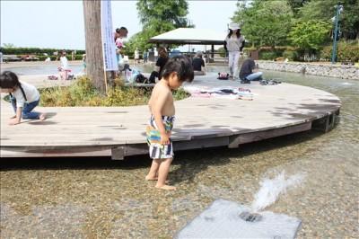 スイムパンツを履いて水遊びをするペン太