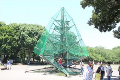 緑の網に囲まれたツリー型のアスレチック