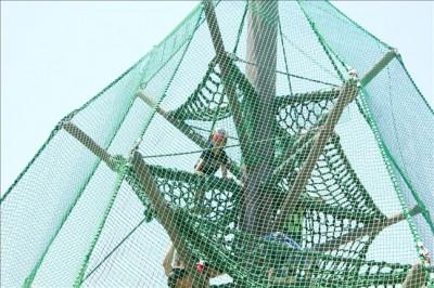 ジャンボツリーのアスレチックの一番上まで登った3歳児