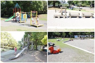 平塚総合公園の子供広場の幼児向けの木の列車の遊具や滑り台