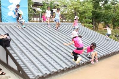 漫遊苑の瓦の屋根で遊ぶ