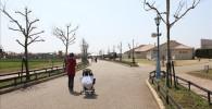 ソレイユの丘の入り口を入ってすぐの遊歩道とベビーカーを押して歩く親子の姿