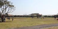 デイキャンプ場前に広がる芝生の広場