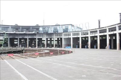 京都蒸気機関車館の扇形車庫の全体写真