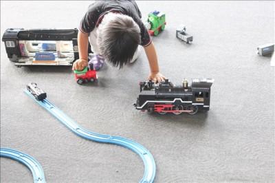 蒸気機関車館内にあるプラレールで遊べるコーナー
