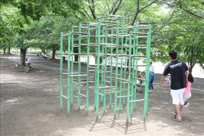 遊具広場の緑のジャングルジム
