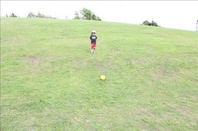 坂になった芝生の広場でボール遊びする幼児