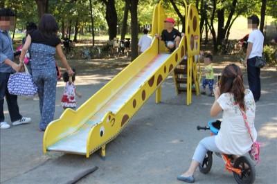 キリンのデザインのミニローラー滑り台