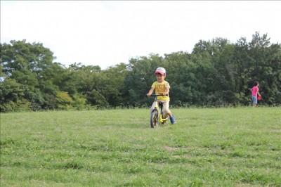 ストライダーの練習に夢中の3歳児