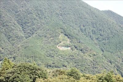 タワーの最上階から見える山のひょうたん