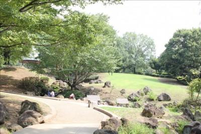 遊歩道の奥に見える芝生の広場