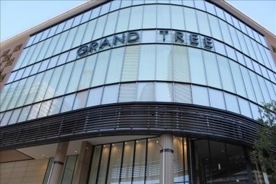 綱島街道と府中街道が交差する新丸子東交差点から見るGRANDTREEの建物入り口
