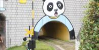 パンダの絵が描かれたトンネル