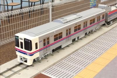 ミニ京王電車を斜め上から撮影
