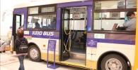 展示してある京王バスで乗車体験
