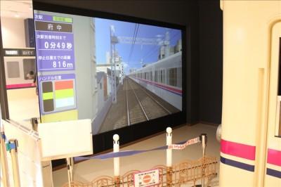 大きな液晶画面で電車運転体験