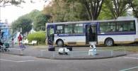 公園内の市バスとその周りの風景