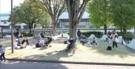 公園の芝生でくつろぐ家族の様子