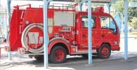 公園内の消防車の展示