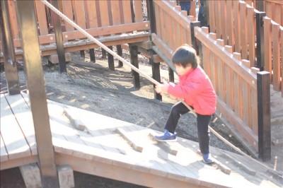 大型アスレチック遊具で遊ぶ幼児