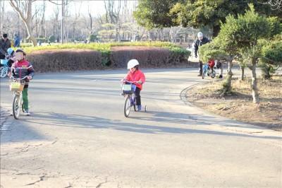 幼児コースを補助輪付き自転車で楽しむ姿