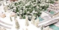 クリスマスバージョンの鉄道ジオラマ模型