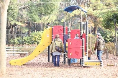 遊具広場の幼児用滑り台