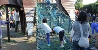 ロープネットアスレチックをする児童