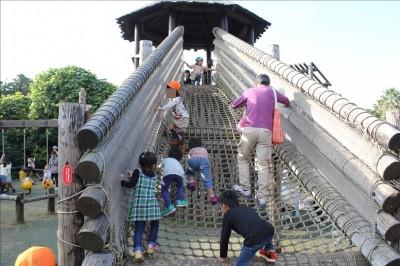 砦まで登るアスレチックネット