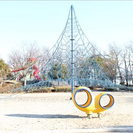 大きなツリー型のロープアスレチック(御勅使南公園)