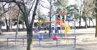 遊戯広場のカゴ付きブランコとその周辺(御勅使南公園)