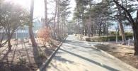 グラウンド横の遊歩道(御勅使南公園)