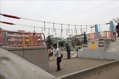 吊り輪がついているユニークな遊具
