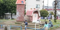萩中公園のサイクリングコース(レンガの建物)