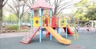 萩中公園の小さな幼児向けの複合遊具